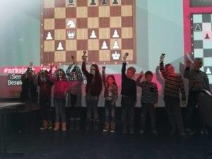 Sjakkturnering for barn i Olavshallen i Trondheim